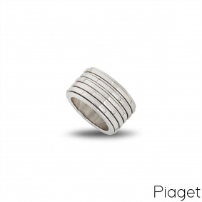 Piaget 18k White Gold Diamond Possession Ring Size 52 B&P G34PO852